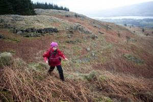 Walker on slopes of Little Meldrum, Gowbarrow Fell