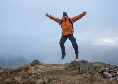 Eric, leaps for joy on Goat Scar, the third Wainwright of the day