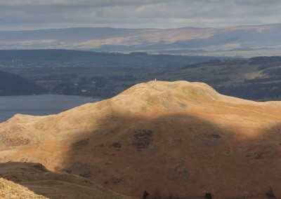 The summit of Hallin Fell lit by sunlight