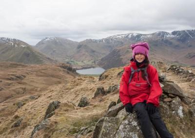 Hannah on the summit of Angeltarn Pike