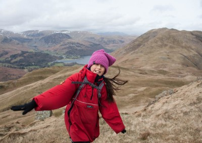 Hannah wind-blown on Angletarn Pike