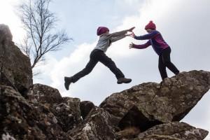 Hannah and Georgia jump 'The Tooth'
