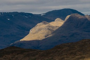 Langdale Pikes lit by sunshine