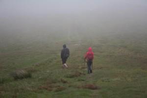 Walking through mist on Blake Fell