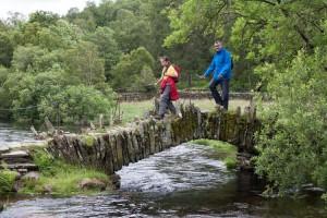 Mayor of Kendal and Hannah walk over the Slater Bridge in Little Langdale