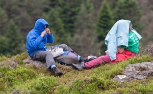 Hiding from midges, lunch on Raven Crag