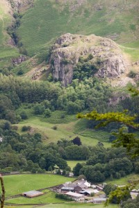 Castle Crag, on which a crack had appeared on the North Buttress. Picture from Raven Crag