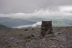 Dark, angry clouds race towards the summit of Skiddaw