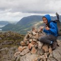 Summit cairn on Haystacks with Buttermere and High Crag