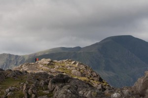 Walkers on Grey Knotts with Pillar in the background
