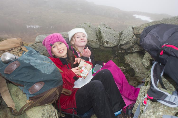 Hannah and Caitlin having lunch in the small shelter on Stone Arthur