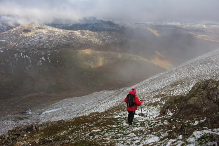 descending from wetherlam onto the greenburn valley