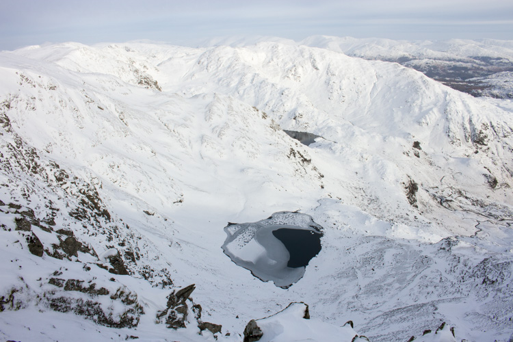 Low Water, Wetherlam and Helvellyn from Coniston Old Man