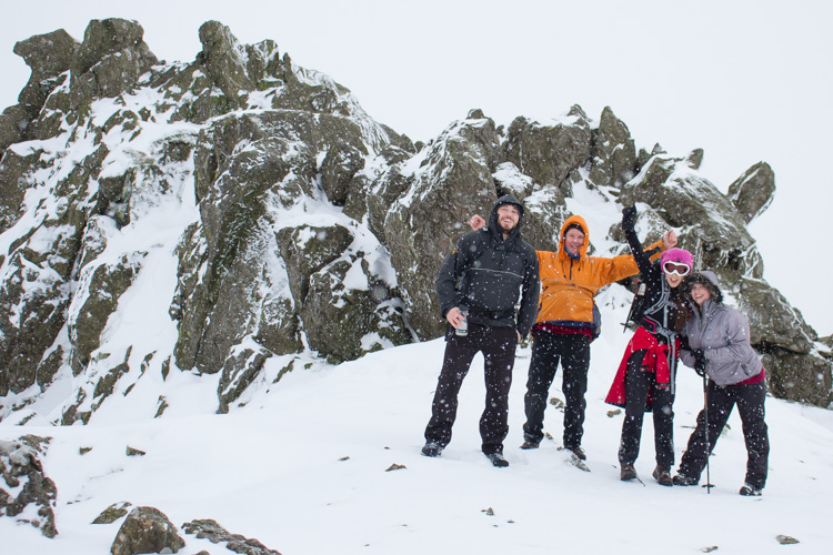 On the summit of Dow Crag in a blizzard
