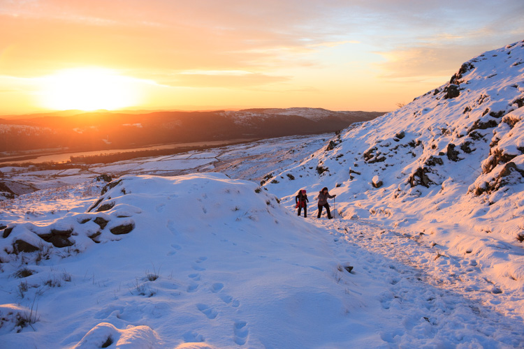 sunrise on the path to Coniston Old Man