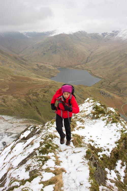 Scrambling up the ridge on Rainsborrow Crag