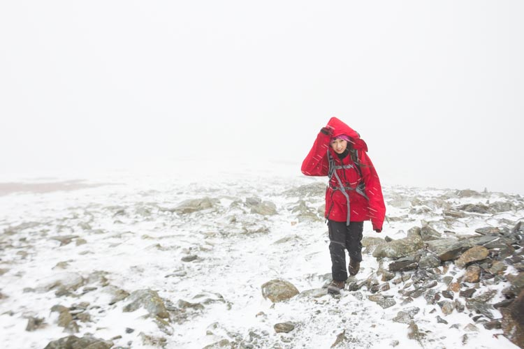 Hannah, ascending Brim Fell in whiteout conditions