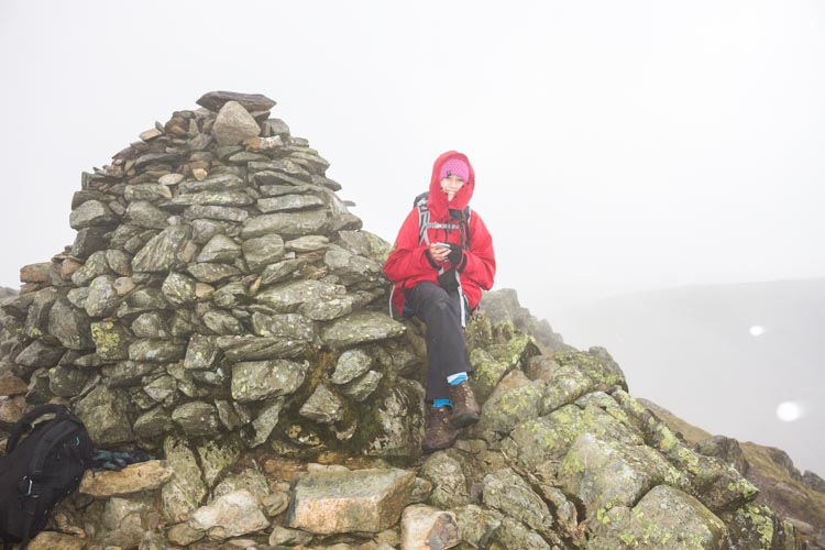 Hannah on the summit of Swirl How, before heading for Brim Fell