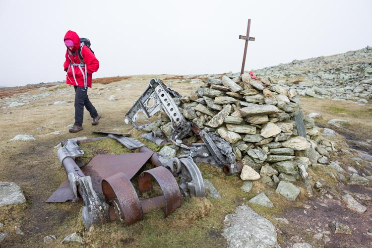 The site of the crash of the Halifax Bomber 'S' For Sugar in 1944 on Swirl How, Brim Fell
