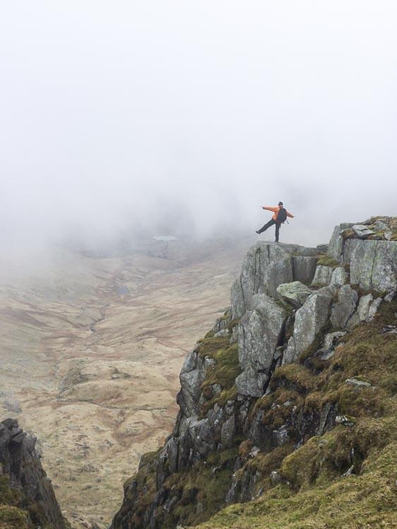 Balancing over Greenburn Valley near Great Carrs