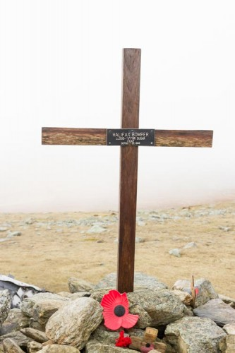 The cross marking the site of the Halifax Bomber (S For Sugar) which crashed in 1944 near Brim Fell